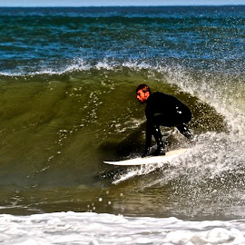 Riding the Curl by Jeff Via Sr. - Sports & Fitness Surfing ( water, surfing, water sports, ocean, surf )