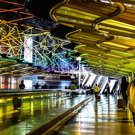Neon Airport Lighting by Lisa Lynn - Abstract Patterns ( abstract, airport, lighting, neon, chicago )