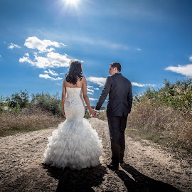 by Nicolae Matic - Wedding Bride & Groom ( love, strobe light, wedding, photoshoot, bride, groom )