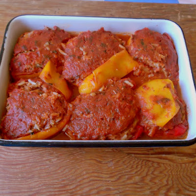 Stuffed Bell Peppers, Greek-Style