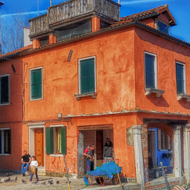 Blue-Orange by Doreen Rutherford - Buildings & Architecture Homes ( blue, orange. color )