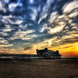 Fire in the sky by Lorraine Paterson - Landscapes Beaches ( clouds, england, sky, sunset, pier, fire )