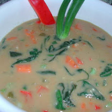 Cream of Yam and Spinach Soup