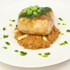Pan-Seared Halibut with White Asparagus Risotto and Pea Purée