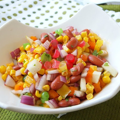 Bean and Corn Salad with Pears and Mike and Ike