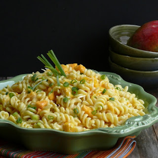 Mango and Papaya Pasta Salad with Creamy Lime Vinaigrette