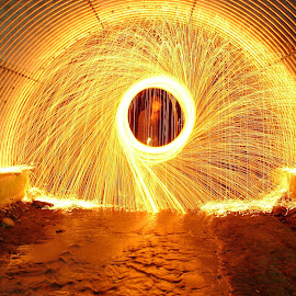 Shield of Fire by Skyler Youger - Abstract Light Painting ( water, orange, light painting, steel wool, creek, sparks, light, fire )