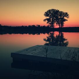 the golden hour by Nenad Milic - Landscapes Sunsets & Sunrises ( orange, waterscape, sunset, lake, nikon, landscape )