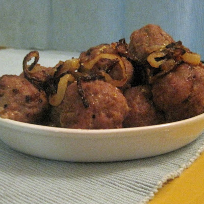 Middle Eastern-ish Meatballs with Caramelized Onions