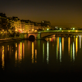 Bridge on the Seine by Gary Beresford - City,  Street & Park  Street Scenes ( paris, seine, reflections, night, france, long exposure, bridge )