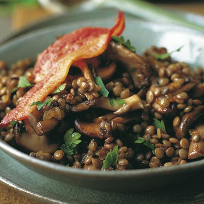Sautéed Bacon Mushrooms, and Lentils
