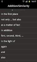 Screenshot of English transitional words