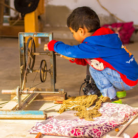 Hard at Work by Avanish Dureha - Babies & Children Children Candids ( handloom, handicraft, dureha@gmail.com, play, children, avanish dureha, activity )