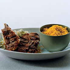 Grilled Lamb Chops with Curried Couscous and Zucchini Raita