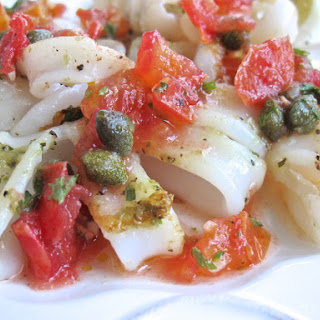 Satueed Calamari with Tomato Caper Salsa