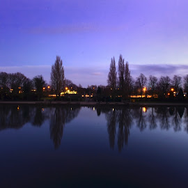 Lake side by Irwan Limanto - City,  Street & Park  City Parks ( water, purple, lake, quiet, landscape, winter, dawn, blue sky, sky, blue, peace, trees, night, view, nottingham, light,  )