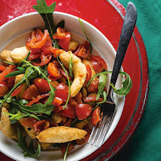 Angioletti Fritti con Rucola e Pomodori (Fried Dough with Arugula and Grape Tomatoes)