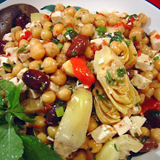 Marinated Chickpea and Artichoke Salad with Feta