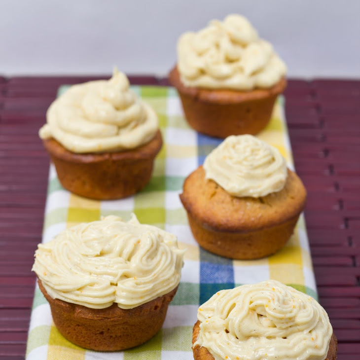 Sour Cream, Almond, & Saffron Cupcakes w/ Cardamom & Sumo Orange Crea...