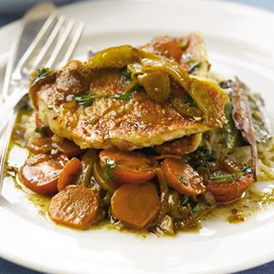 Seared red mullet with à la Grecque vegetables & basmati pilaf