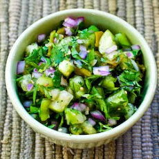 Tomatillo Salsa with Roasted Green Chiles, Cilantro, and Lime