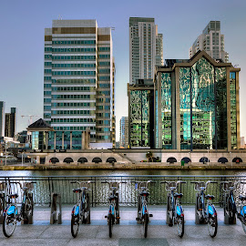 Canary Wharf, Docklands, London by Dave Byford - Buildings & Architecture Other Exteriors ( london, offices, canary wharf, reflections, docklands, buidlings, boris bikes )