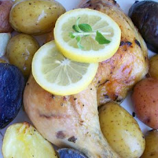 Simple Greek Lemon Chicken Thighs With Potatoes (Low Fat) for 1