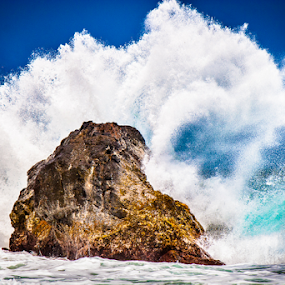 Ocean Wave Crashing upon Rock by Joe Boyle - Landscapes Waterscapes ( splash, roar, wave, rock, crashing, ocean, crash, hawaii )