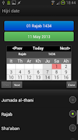 Screenshot of Hijri date