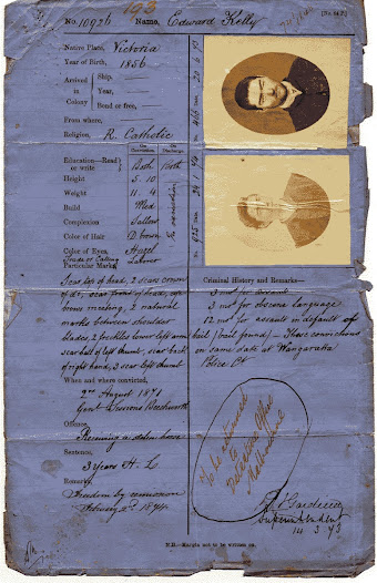 Edward Kelly's prison record for horse stealing in 1871