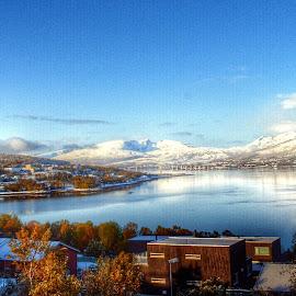 first snow  by Robin Tøllefsen - Landscapes Weather ( winter, beautiful, snow, landscape, sun )
