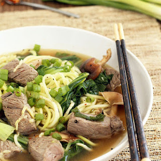 Beef Noodle Soup with Shitake Mushrooms and Baby Bok Choy from Spiralized