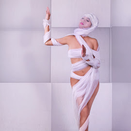 bondage bound by Fsm Fashionstudiomanila - Digital Art People ( whole body, white, bandage, mummy )