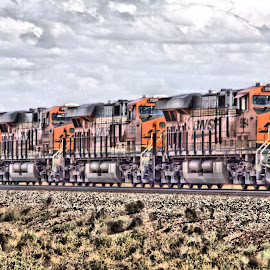 As  She  Rolls On by Jo Gonzalez - Digital Art Things ( train, digital photography )