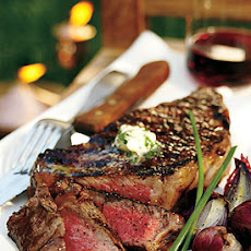 Grilled Rib-Eye Steaks with Parsley-Garlic Butter