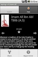 Screenshot of Sayings of Imam Ali