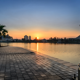 Sunrise by the park  by Gary Yip - City,  Street & Park  City Parks ( clear, lake, sunrise, morning, pond, sun )