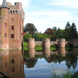Handzame Belgium by Monique Coen - Buildings & Architecture Public & Historical ( water, handzame, reflection, castle, bridge,  )