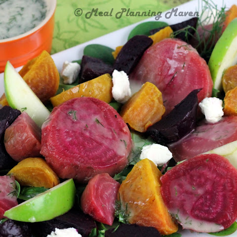 Trio of Roasted Beets Salad with Apple-Dill Drizzle