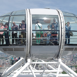Top of the Eye by Zsigmond Bujtor - Transportation Other ( england, uk, london eye, london, tourists, cityscape, landscape, people, attraction, pod, city )