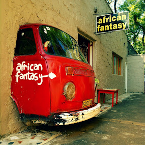 African Fantasy by Gareth  Evans - Instagram & Mobile iPhone ( red car wall africa )