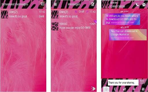 免費下載個人化APP|GO SMS THEME Pink Feathers app開箱文|APP開箱王