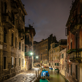 Lonely Night! by Jesus Giraldo - City,  Street & Park  Historic Districts ( water, street, boats, reflections, beauty, architecture, city, amazing, urban, lonelz, venice, night, homes, channel,  )