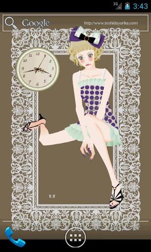おしゃれでかわいい女の子ライブ壁紙1(時計)無料版