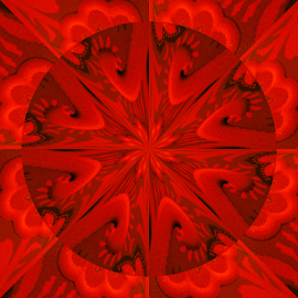 Red Kaleidoscope by Tina Dare - Digital Art Abstract ( abstract, patterns, kaleidoscope, red, designs, artistic, shapes )