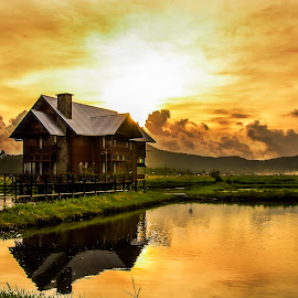 Home sweet home by Jee Cornelius - Buildings & Architecture Homes ( clouds, reflection, afternoon, sunset, house,  )