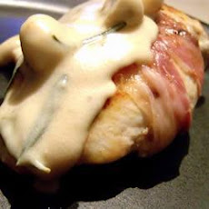 Prosciutto Wrapped Chicken in a Mushroom and White Wine Cream Sauce