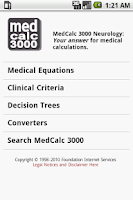 Screenshot of MedCalc 3000 Neurology