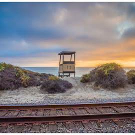 San Clmente 3 by Susan Liepa - Landscapes Beaches ( lifeguard, san clemente, tower, sunset, train, ocean, tracks,  )