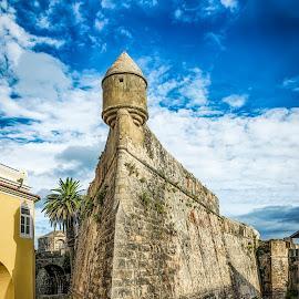 Fortaleza de Cascais by Paulo Roque - Buildings & Architecture Statues & Monuments ( monuments, cascais, sky, blue, fortaleza, street, yellow, portugal, lisboa, historic )